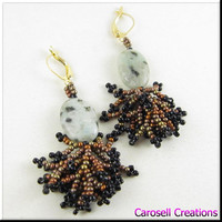 Sesame Jasper Coraling Dangle Beadwork Earrings