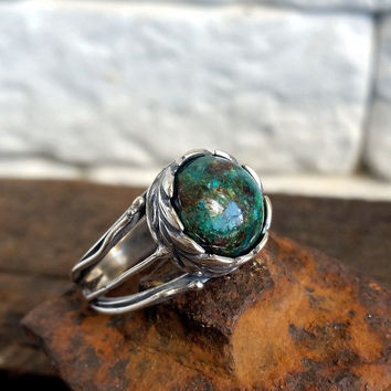 Eilat Stone Ring, Chrysocolla ring, Cocktail Ring, 925 sterling silver Ring, gemstone ring, Israel Jewelry, blue green ring, gift to her