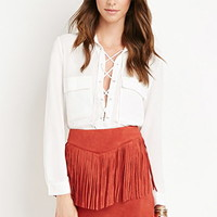 Fringed Faux Suede Skirt