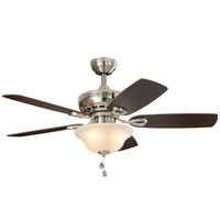 Shop Harbor Breeze Sage Cove 44-in Satin Nickel Indoor Downrod Or Close Mount Ceiling Fan with Light Kit at Lowes.com