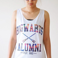 S, M, L -- Galaxy Hogwarts Alumni Shirt Harry Potter Shirt Women Shirts Vest Tank Top Women Tunics Top Sleeveless Singlet White Shirts