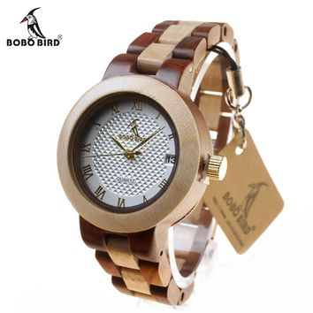 BOBO BIRD L-M19 Calendar Wood Wristwatches Ladies New Top Band Japan Quartz Clock for Women in Gift Box Relogio Feminino