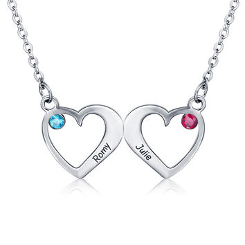 Sterling Silver 2 Connected Hearts Birthstone Engraved Pendant Necklace