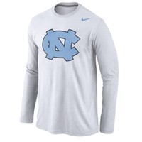 Nike North Carolina Tar Heels White Logo Cotton Long Sleeve T-Shirt