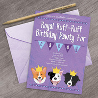 Purple Dog Invitation Royal Prince Dog Party Invites Dog Birthday Invite Crown Invitation Pitbull Border Collie Corgi Digital Dogs Invite