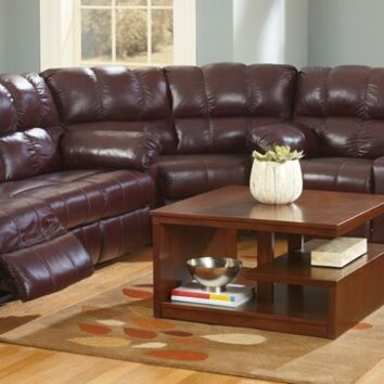 3 pc Kennard collection burgundy top grain leather match upholstered sectional sofa set with recliners on the ends