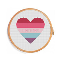 Heart Cross stitch pattern - instant download - words I love you red blue pink