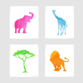 Safari Jungle Animals Wall Art, Set of 4 Nursery Custom Prints Watercolor Orange Pink Blue Green Modern Custom Colors, Nursery Decor, 8x10