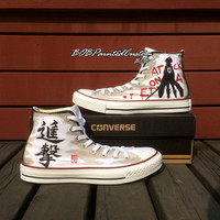 Birthday Gifts for Anime Lover White High Top Converse Hand Painted Anime Sneaker Men Women Unique Shoes