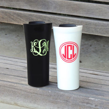 insulated coffee cup, plastic coffee cup, monogrammed cup, stocking stuffer, tea tumbler, coffee tumbler, holiday gift, personalized tumbler