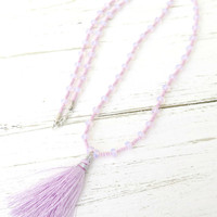 Pink Opal Beaded Tassel Necklace with Matching Bracelet/ Hill Tribe Silver/ Exclusive Artisan Tassel Necklace/ Opal Jewelry
