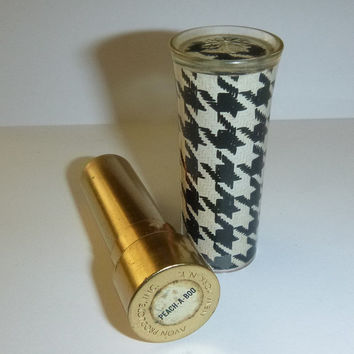 Vintage 60's Avon Lipstick Makeup Houndstooth Mod Lipstick Lucite Case Beauty Vanity Display Prop 1960's Lipstick Case Makeup Collectible