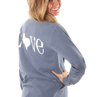 love Texas comfort colors long sleeve - blue jean