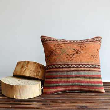 Handwoven Wool Turkish Kilim Embroidery Pillow Cover - Decorative Pillow - 16x16 inch - Vintage Home Decor