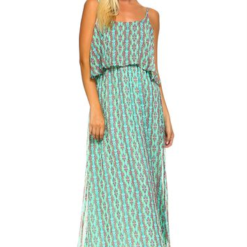 Women's Abstract Print Layer Maxi Dress