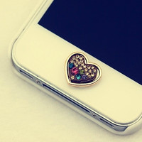 Cute Loving Heart Home Button Sticker for iPhone 4 4s 5 5s = 1652462020