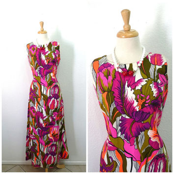Vintage 60s Cotton Dress Aloha Authentic Hawaiian Neon Huge Floral print dress Medium