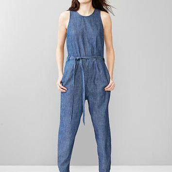 Gap Women 1969 Slit Back Denim Jumpsuit