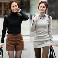 Women's High Neck Sweater Long Sleeve Stretchy Knit Bottoming Shirt 8187 = 1901876868