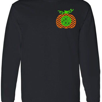 Chevron Monogram Pumpkin Adult Long Sleeve T-Shirt, Halloween Monogram Clothing, Chevron Pumpkin