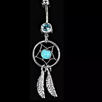 Dream catcher wings navel dangle belly bar barbell button belly body ring