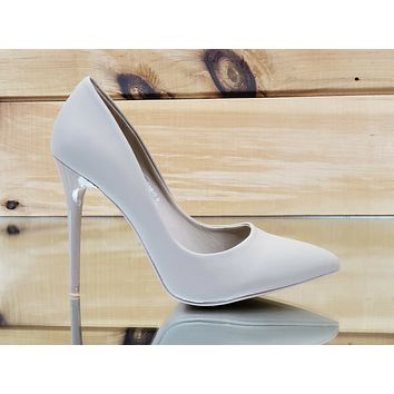 "Fabio Soft Nude Lamy 4.5"" High Heel Shoes Pointy Toe Pump 7-11"