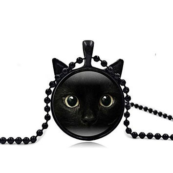 Vintage Steampunk Style Lucky Cat Kitty Glass Pendant Necklace For Women Holiday Gifts