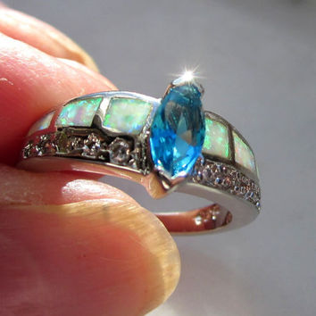 Sterling opal ring 925 fire opal ring sterling opal ring topaz silver ring sterling topaz ring crystal opal ring blue topaz ring size 6