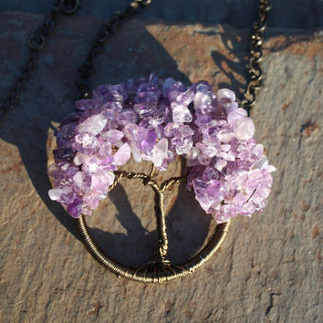Amethyst Tree of Life Pendant for Inner Peace, Spiritual Healing, Protection, and Improved Concentration SHIPS FREE within Continental U.S.