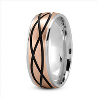 Wedding Band - Celtic Mens Ring with Black Rhodium in White and Rose Gold