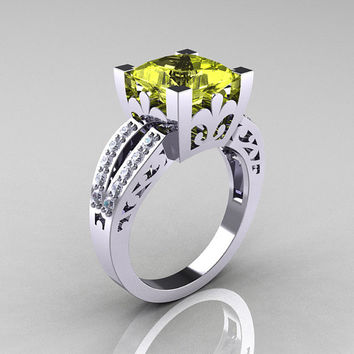 French Vintage 14K White Gold 3.8 Carat Princess Yellow Topaz Diamond Solitaire Ring R222-WGDYT