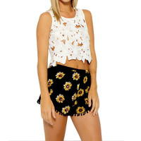 8 Color Design Women Lady Hot Sexy Summer Casual Shorts Boho Flowers Printed High Waist Shorts