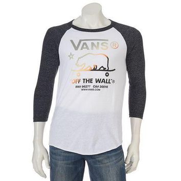 Men's Vans Graphic Raglan 3/4 Sleeve T-Shirt WHITE & ONYX -Size XL/Lrg/Med - NWT