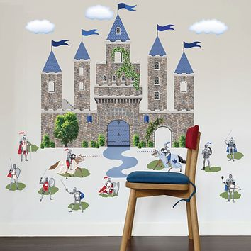 Large Medieval Castle Wall Decal with Knight Decals, Removable Wall Stickers
