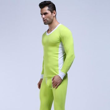 Men Cotton Underwear Winter Thermal Long Johns Set Cueca Comfy Men's Warm Pajamas Gay Sleepwear Tops & Leggings Pants