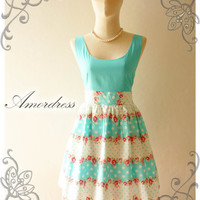 Amor Vintage Inspired Blue Dot Chabby Chic Pink Rose Sweet Dress -Size S-M-