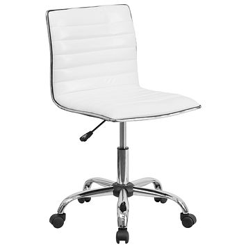 Low Back Armless Ribbed Designer Swivel Task Chair