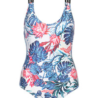 Multicolor Floral Print Strappy Crossback One-piece Swimsuit