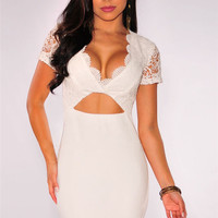 White Short Sleeve Crochet Scalloped Neck Cutout Mini Bodycon Dress