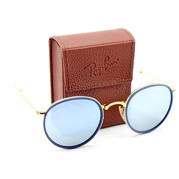 Ray-Ban RB3517 001/30 Round Folding Gold Frame / Green Mirror Silver Lens 51mm