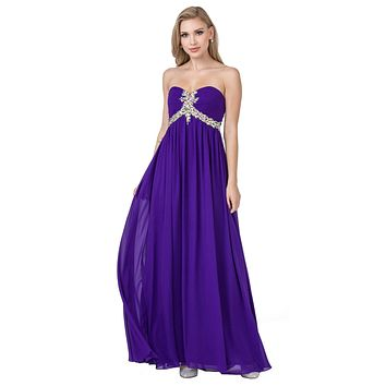 Pleated Strapless Studded Long Purple A Line Prom Gown Empire Waist