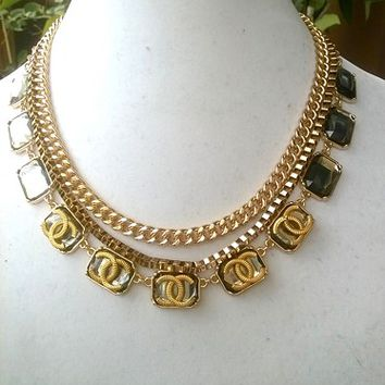 Fabulous Gold Designer Statement Runway Chain Necklace