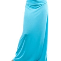 A Different Light Fold Down Plus Size Maxi Skirt: Sky Blue