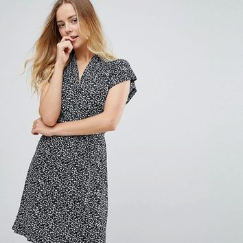 French Connection Bluebell Patterned Tie Waist Dress at asos.com