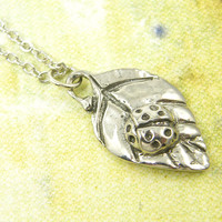 Silver Pewter Ladybug on Leaf Pendant Necklace Bug Insect Nature Jewelry