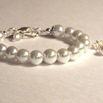 Baby Pearl Bracelet and Earring Set, Baby Jewelry, Baby Pearls, Baby Gift