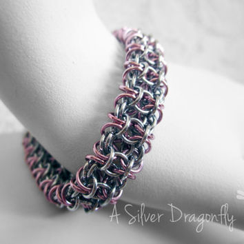 Pink Aluminum Chain Maille Bracelet with Hand Wrapped Clasp - Chainmail, ChainMaille