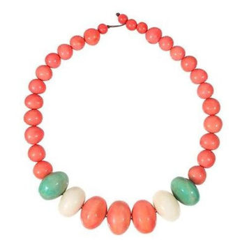 Tagua and Seed Manabi Necklace in Papaya - Faire Collection
