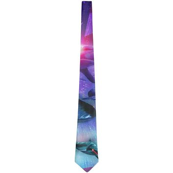 July 4th Patriotic American Galaxy Laser Sharks All Over Neck Tie