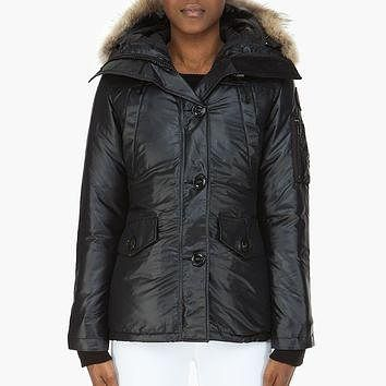 Canada Goose Black Down Fur-trimmed Montebello Jacket